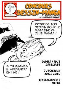 affiche concours de dessin - manga